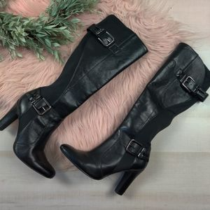 Jessica Simpson buckle side heeled boots